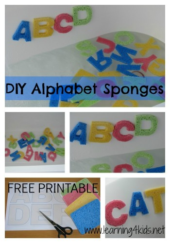 DIY Alphabet Sponge Letters with free printable template by Learning 4 Kids