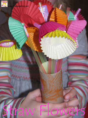 How to make straw flowers - Flower crafts for kids by Learning 4 Kids