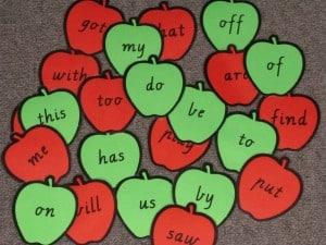 Apple Theme Sight Word Cards