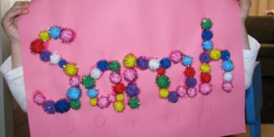 Name Activity for kids- create a name collage with pompoms