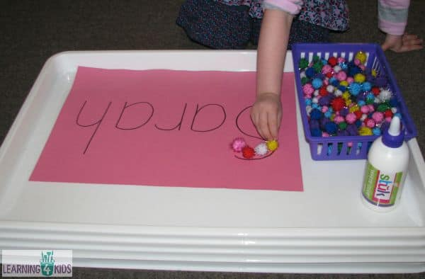 activity for recognising letters in name