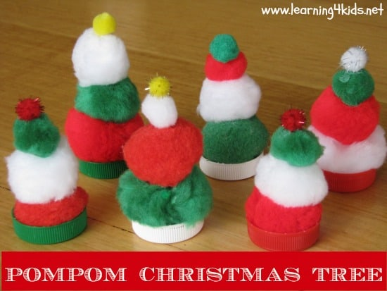 Cute Christmas Ideas For Kids.Pompom Christmas Tress Learning 4 Kids
