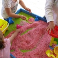 how to set up a sensory rice table or tub