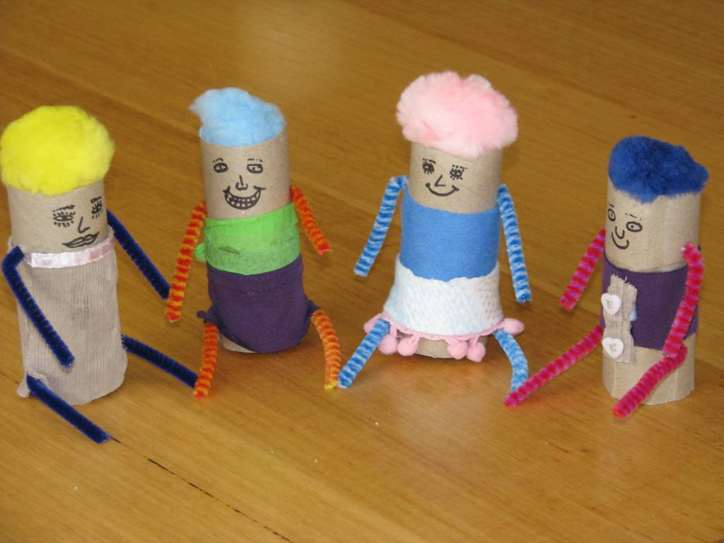 Little toilet roll people learning 4 kids for How to make recycled paper crafts