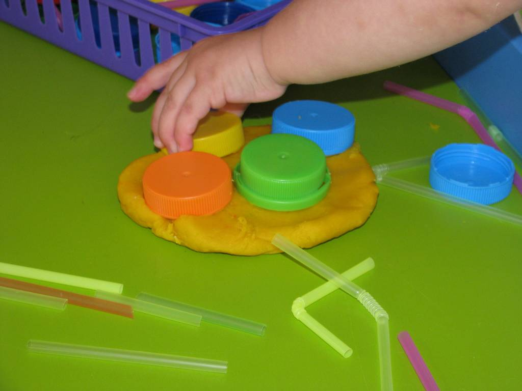 Play Dough Bottle Tops And Straws Learning 4 Kids
