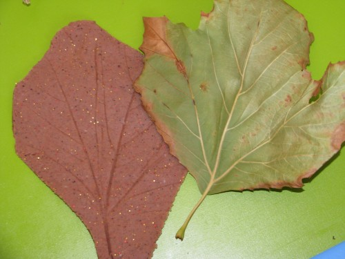 Autumn Fall Play Dough Leaf Prints using scented nutmeg play dough recipe