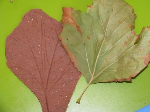 Autumn Fall Play Dough Leaf Prints using scented nutmeg play dough recipe