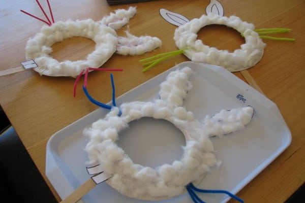 Easel Stand Designs : Paper plate easter bunny mask learning kids