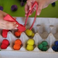 pompom and egg carton for fine motor