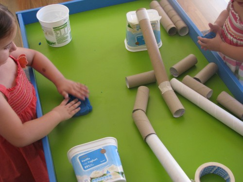 The creativity and imagination is endless with Play dough and cardboard tubes by learning 4 kids