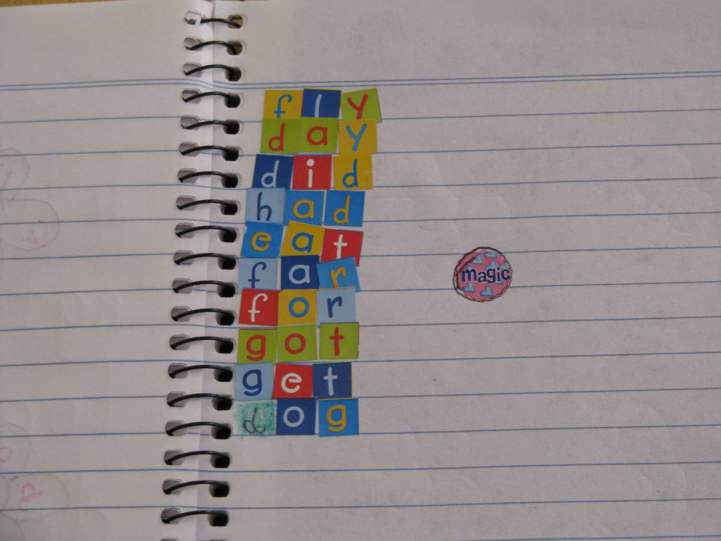 sight list using in the sticky words letters to  the and words make up sight word down foam book