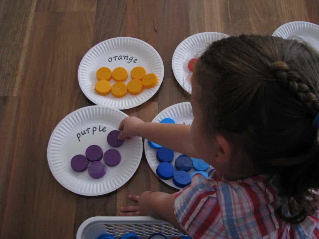 Sorting Colours with Bottle Tops | Learning 4 Kids
