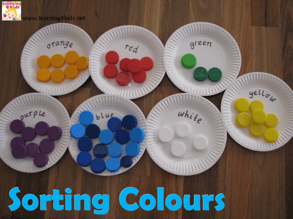 sorting colours with bottle tops - Colour Activities For Children