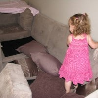 using cushions to create an obstacle course