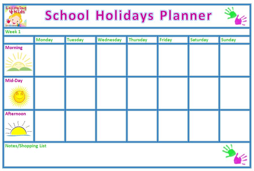 free printable school holiday planner