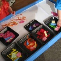 Sponge painting with kids and toddlers