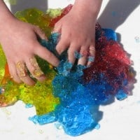 make a rainbow with jelly