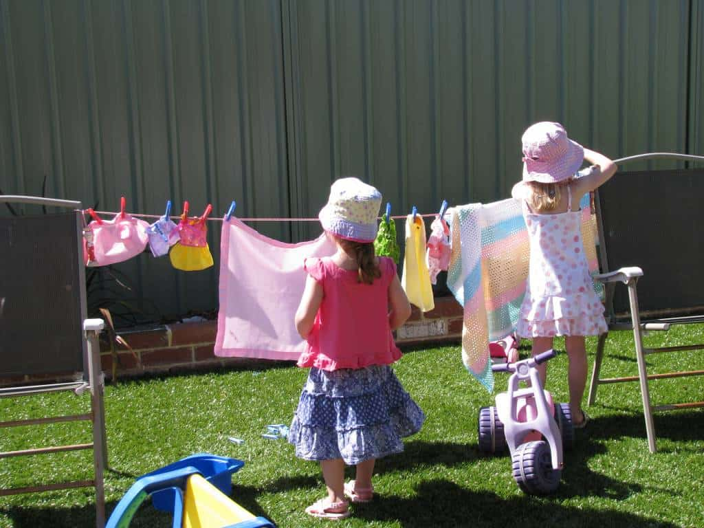 Wet washing hanging on the line