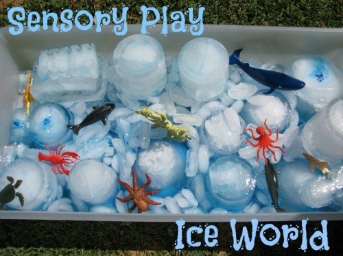 Using ice for sensory play for preschoolers and toddlers