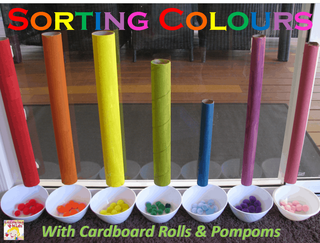 Sorting colours with cardboard tubes learning 4 kids how to teach colours to toddlers and kids publicscrutiny Choice Image