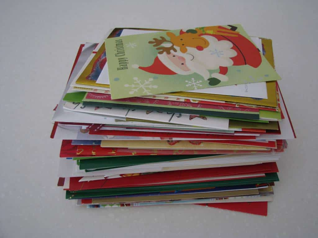 Recycled christmas card garland learning 4 kids save you will need some old christmas cards m4hsunfo