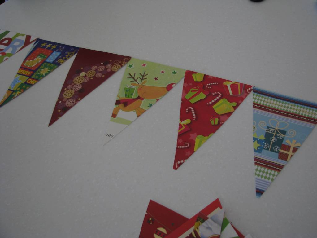 Recycled Christmas Card Garland | Learning 4 Kids