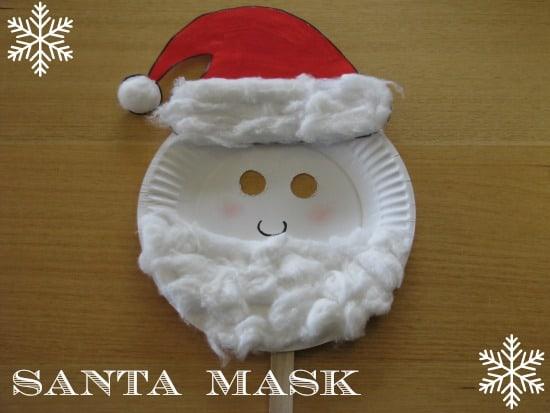 paper plate christmas masks learning 4 kids - Santa Claus Preschool Crafts
