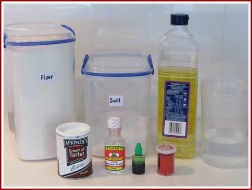 Minty Candy Cane Scented Play Dough Ingredients