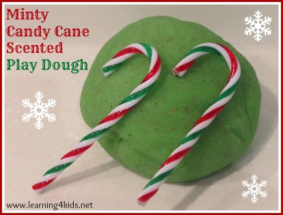 minty candy cane christmas play dough learning 4 kids