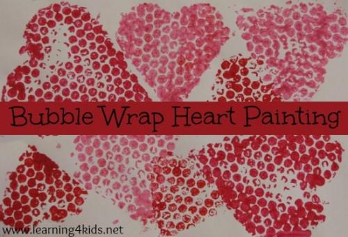 Bubble Wrap Heart Painting