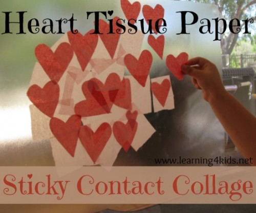 Heart Tissue Paper Sticky Contact Collage