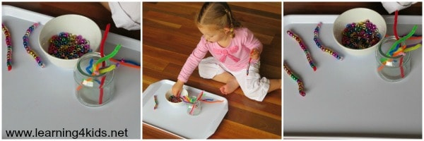 montessori inspired learning trays