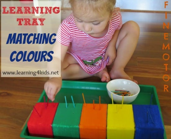 learning tray matching colours learning 4 kids. Black Bedroom Furniture Sets. Home Design Ideas