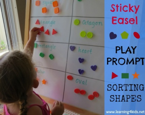 Sticky Easel Play Prompt - Sorting Shapes