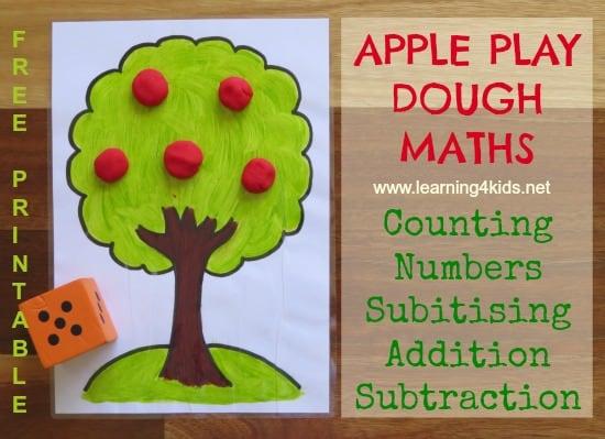 Apple theme play dough maths activity