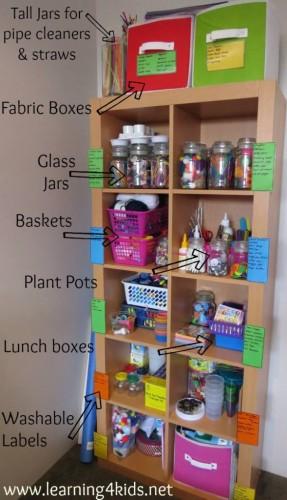 organising art and craft items