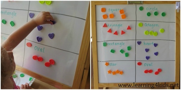 Learning about shapes - activities for kids