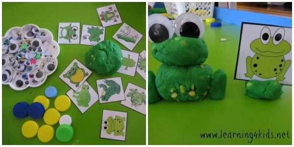 Creating Speckled Frogs with play dough