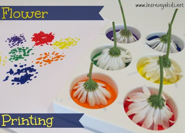 flower printing painting activities for kids and toddlers - Printing Activities For Preschoolers