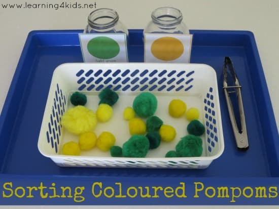 Sorting Coloured Pompoms