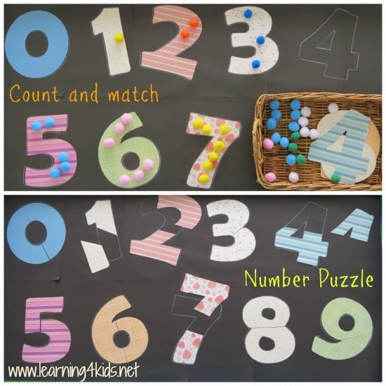 Count and match number activities