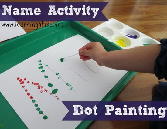 name activities for kids dot painting learning4kids - Preschool Painting Games