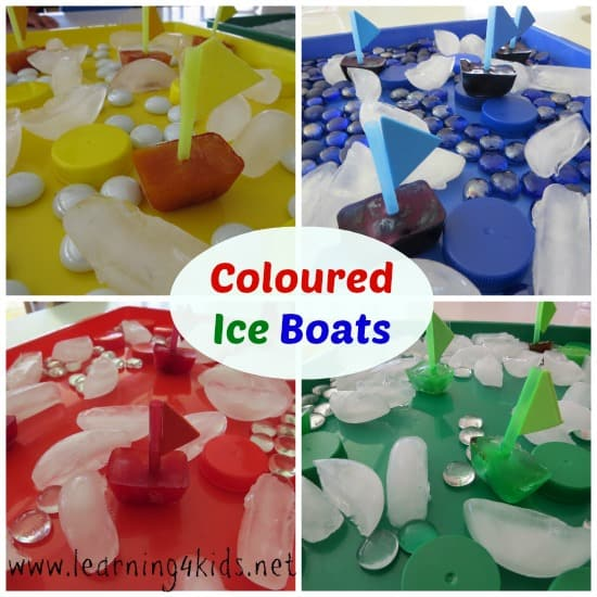 coloured ice boats - Colour Activities For Kids