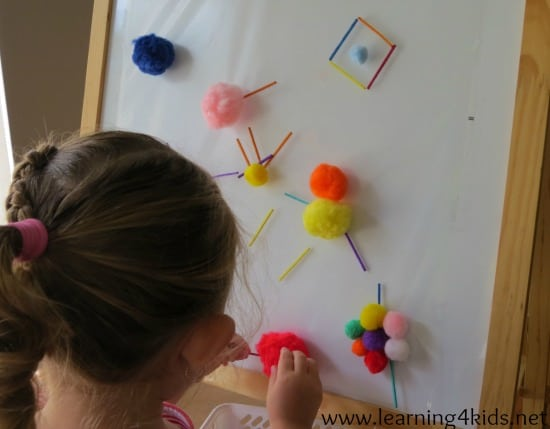 Easel Activities Pompoms and Match Sticks