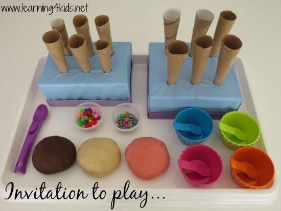 Invitation to play Neapolitan Ice Cream Play Dough - learning4kids