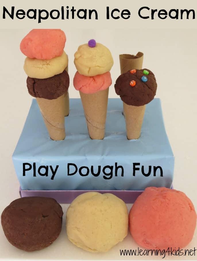 Neapolitan Ice Cream Play Dough Fun