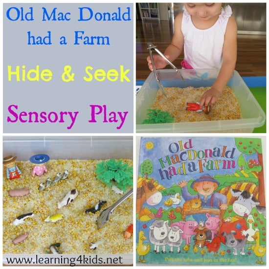Old mac donald had a farm sensory box learning 4 kids for Educational crafts for toddlers