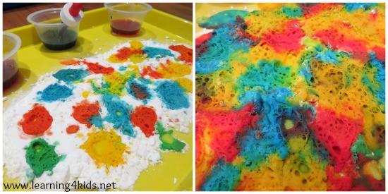 Science Ideas for Kids using bi-carbonate soda and vinegar