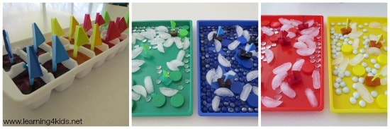 Sensory colour Activities Coloured Ice Boats