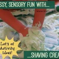 Shaving Cream Activity Tray for sensory play fun